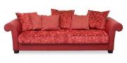 DIVAN - Sofa XXL in korallrotem Leder in Kombination mit floralem Stoff