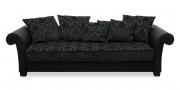 DIVAN - Sofa XXL in schwarzem Leder in Kombination mit schwarzem Stoff im Barockmuster