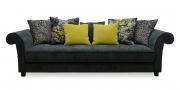 DIVAN - Sofa im Stoff Restful grau mit verschiedenen Zierkissen