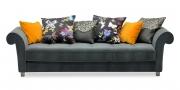 DIVAN - Sofa in Mikrofaser grau mit Zierkissen in Samtstoff gelb und Stoff Christian Lacroix Papillon und Clark & Clark