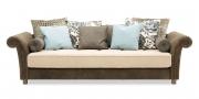 DIVAN - Sofa in Leder Dakar Wildlife in Kombination mit Stoff Saum und Viebahn Like Suede mit verschiedenen Zierkissen