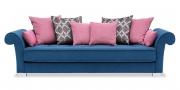 DIVAN - Sofa in blauem Stoff mit rosafarbenen Zierkissen