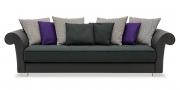 DIVAN - Sofa in grau schwarzer Stoffkombi mit verschiedenen Zierkissen