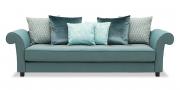 DIVAN - Sofa in grau-blauem Stoff Mercis Elize mit passenden Zierkissen im Stoff von Backhausen und Carlucci di Chivasso