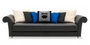 DIVAN - Sofa im Leder Rustik schwarz mit verschiedenen Zierkissen