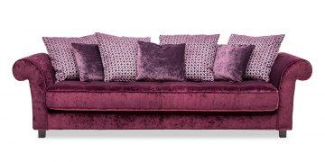 DIVAN - Big Sofa in Stoff bordeaux mit farblich passenden Zierkissen