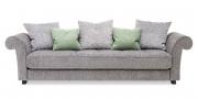 DIVAN - Big Sofa in groben Stoff grau mit Zierkissen
