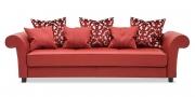 DIVAN - Sofa in rotem Leder mit Knopfheftung auf Sitzfläche und Zierkissen in Stoff S&V