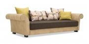 DIVAN - Big Sofa in Stoffkombi Rho natur und Villena braun mit Zierkissen
