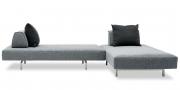EASY - Liegesofa mit mobilen Rücken in grauen Stoff und schwarzen Rückenkissen