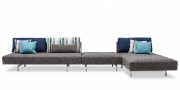EASY - Liegesofa mit Hocker und Longchair in Stoff von S & V dazu passende Rückenkissen und Zierkissen