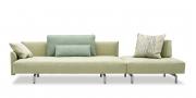 EASY - Big Sofa mit Steckrücken und Hocker in Alcantara mit Zierkissen und großen Rückenkissen