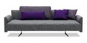 EASY - 3 Platz Sofa mit Steckrücken in graumelierten Stoff mit Rückenkissen und Zierkissen