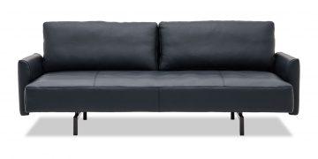 EASY - Lounge Sofa mit losen Rückenkissen und Steckarmlehnen in Leder Jumbo schwarz