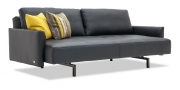 EASY - 3 Platz Sofa mit losen Rückenkissen in Leder Jumbo schwarz mit Dekoissen