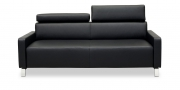 FINESSE - 2,5 Platz Sofa in Leder schwarz