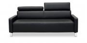 FINESSE - 2,5 Platz Sofa in Leder schwarz