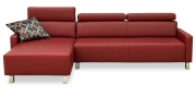 FINESSE - 2,5 Platz Sofa mit Longchair in Leder rot