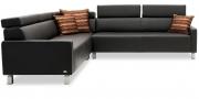 FINESSE - 2,5 Platz Sofa mit Spitzecke in Leder Bull Club anthrazit