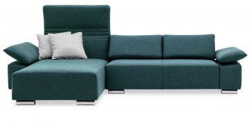 FONTANA II - 2 Platz Sofa mit Longchair in Stoff graublau