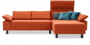 FONTANA II - 2 Platz Sofa mit Longchair in Stoff Prima orange