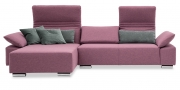 FONTANA II - 2 Platz Sofa mit Longchair in Stoff rose