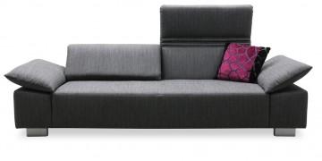 FONTANA - 2,5 Platz Sofa in mausgrauem Stoff mit Dekokissen