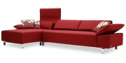 FONTANA - 2,5 Platz Sofa mit Longchair im Stoff Verano rot