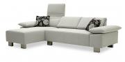 FONTANA - 2 Platz Sofa mit Longchair im Stoff Premier hellgrau