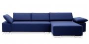 FONTANA - 2 Platz Korpus mit Longchair im Wollstoff S+V Basic blau