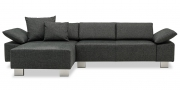FONTANA - 2 Platz Sofa mit Longchair im Stoff JOOP! Opal grau mit passenden Kissen