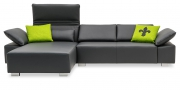 FONATAN - 2 Platz Sofa mit Longchair nach Maß in Leder Jumbo lava mit grünen Designerkissen
