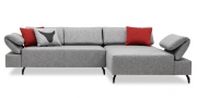 FONTANA mit Armlehne FUGO - 2 Platz Sofa mit Longchair in Stoff S&V Magic graumeliert