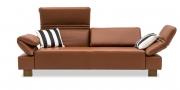 FONTANA mit Armlehne FUGO - 2,5 Platz Sofa in Leder Ibiza Cognac mit Kissen in schwarz weiss