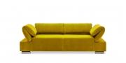 FUGO - 2,5 Platz Sofa im samtigen gelben Stoff mit heruntergeklappten Elementen