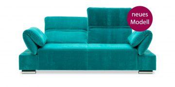 neues Modell FUGO - 2,5 Platz Sofa im tükisen Samtstoff