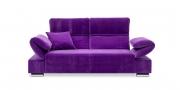 FUGO - 2,5 Platz Sofa im samtigen Stoff violett mit passendem Dekokissen