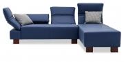 FUGO - 2 Platz Sofa mit Longchair in Leder Napoli blau mit Zierkissen