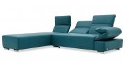 FUGO - 2 Platz Sofa mit Longchair in Leder Napoli petrol