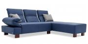 FUGO - 2 Platz Sofa mit Longchair in Leder Napoli blau