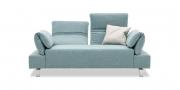 FUGO - 2 Platz Sofa mit Relax-Armlehne in Stoff hellblau-grau-meliert