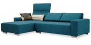 FUTURA - 2 Platz Sofa mit Longchair im Stoff Amalfi seegrün