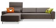 FUTURA - 2,5 Platz Sofa mit Longchair im Stoff Imola grau