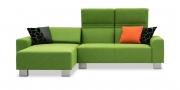FUTURA - 2 Platz Sofa mit Longchair im Stoff Verotex Woven Rainbow grün