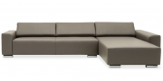 FUTURA - 2,5 Platz Sofa mit Longchair in Leder Club braun