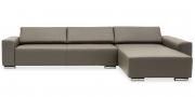 FUTURA - 2,5 Platz Sofa mit Longchair in Leder Club braun