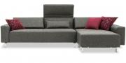 FUTURA - 2,5 Platz Sofa mit Longchair in grau-meliertem Stoff Höpke Active Clean Verano