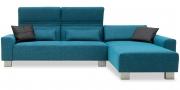 FUTURA - 2,5 Platz Sofa mit Longchair im Sondermaß in türkisem Stoff Höpke Active Line mit schwarzen Kissen
