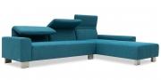 FUTURA - 2,5 Platz Sofa mit Longchair im Sondermaß in türkisem Stoff Höpke Active Line