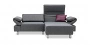 FUTURA mit Armlehne FUGO - 1 Platz Sofa mit Longchair im grauen Stoff von Höpke Active Line